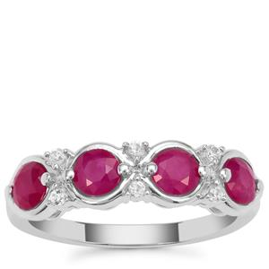 John Saul Ruby Ring with White Zircon in Sterling Silver 1.60cts