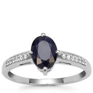 Kanchanaburi Sapphire Ring with White Zircon in 9K White Gold 1.64cts