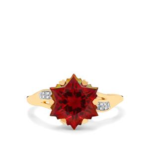 Wobito Snowflake Cut Scarlet Topaz & Diamond 9K Gold Ring ATGW 5.50cts