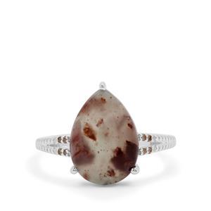 Aquaprase™ & Champagne Diamond Sterling Silver Ring ATGW 4.13cts
