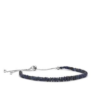 Blue Sapphire Graduated Bead Slider Bracelet in Sterling Silver 17.50cts