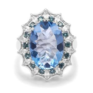 Colour Change Fluorite, Marambaia London Blue & White Zircon Sterling Silver Ring ATGW 16.67cts