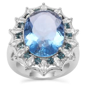 Colour Change Fluorite, Marambaia London Blue Ring with White Zircon in Sterling Silver 16.67cts