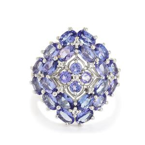 Tanzanite Ring with White Topaz in Sterling Silver 5.62cts