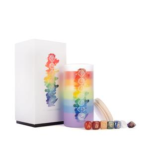 7 Layer Chakra Candle, with Seven Meditation Gemstones ATGW 388cts