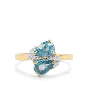 Ratanakiri Blue Zircon & Diamond 9K Gold Ring ATGW 2.31cts