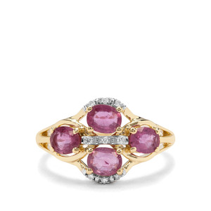 Sant Ruby & Diamond 9K Gold Ring ATGW 1.68cts