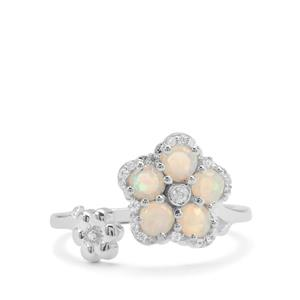 Coober Pedy Opal Ring with White Zircon in Sterling Silver 0.65ct