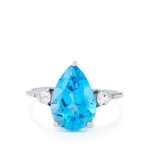 Swiss Blue Topaz & White Zircon 9K White Gold Ring ATGW 5.04cts