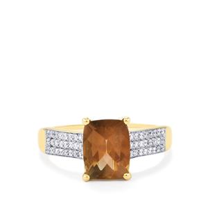 Oregon Sunstone Ring with Diamond in 18k Gold 2.15cts