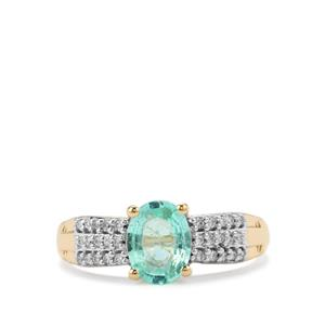 Paraiba Tourmaline Ring with Diamond in 18k Gold 1.08cts