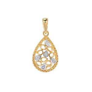 Diamond Pendant in Gold Flash Sterling Silver