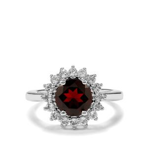 Rajasthan Garnet & White Topaz Sterling Silver Ring ATGW 2.82cts