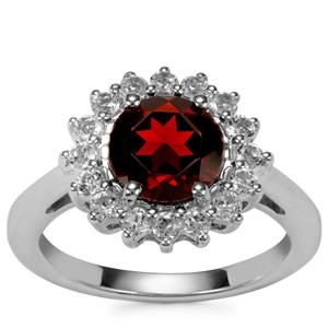 Rajasthan Garnet Ring with White Topaz in Sterling Silver 2.82cts