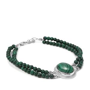 Malachite Sterling Bracelet in Sterling Silver 61.73cts