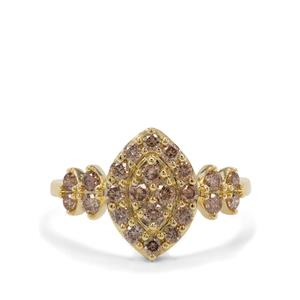 3/4ct Champagne Diamond 9K Gold Ring