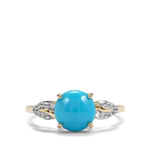 Sleeping Beauty Turquoise & White Zircon 10K Gold Ring ATGW 1.83cts