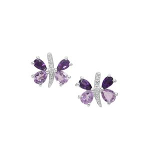 Rose De France Amethyst, African Amethyst Earrings with White Zircon in Sterling Silver 2.60cts