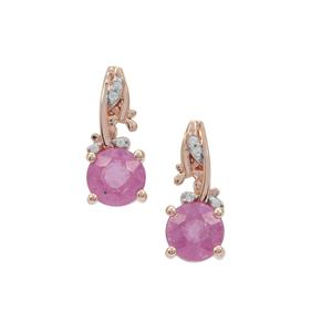 Ilakaka Hot Pink Sapphire Earrings with White Zircon in 9k Rose Gold 1.55cts (F)