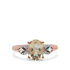 Peacock Parti Oregon Sunstone Ring with White Zircon in 9K Rose Gold 1.83cts