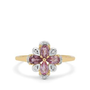 Pink Sapphire & White Zircon 9K Gold Ring ATGW 1.05cts