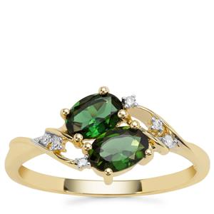 Chrome Tourmaline Ring with Diamond in 9K Gold 0.89cts