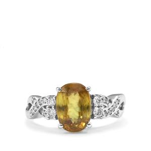 Ambilobe Sphene Ring with Diamond in 18K White Gold 3.22cts