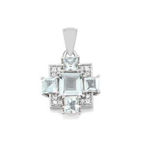 Pedra Azul Aquamarine Pendant with White Zircon in Sterling Silver 2.08cts