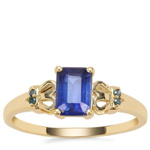 Nilamani Ring with Blue Diamond in 9K Gold 1.25cts