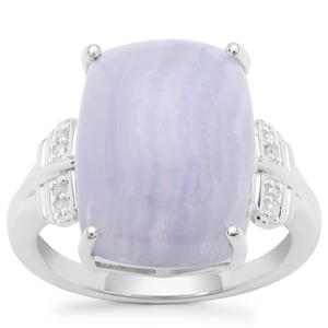 Blue Lace Agate Ring with Diamond in Sterling Silver 10.73cts