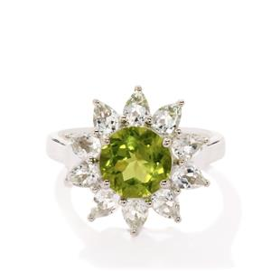 Changbai Peridot & White Topaz Sterling Silver Ring ATGW 3.90cts