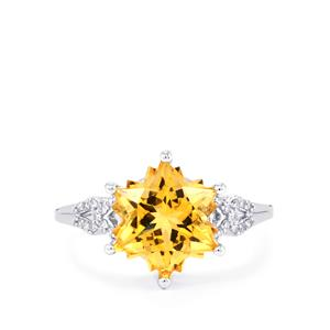 Rio Golden Citrine Ring with Diamond in 9K White Gold 4.12cts