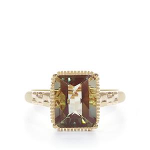 Green Andesine Ring in 9K Gold 2.91cts