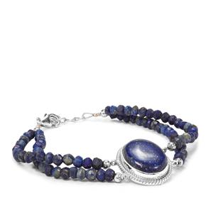 Sar-i-Sang Lapis Lazuli Bead Bracelet in Sterling Silver 44.35cts