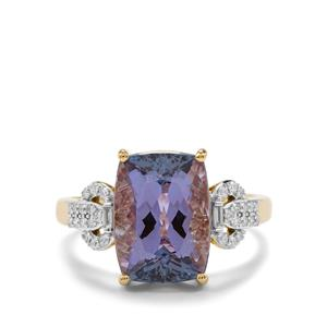 Bi Color Tanzanite Ring with Diamond in 18k Gold 5.43cts