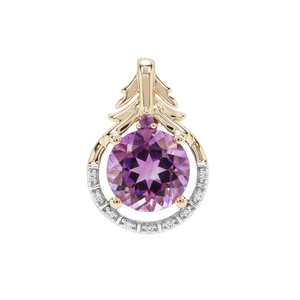 Moroccan, Zambian Amethyst Pendant with White Zircon in 9K Gold 1.89cts