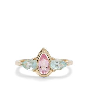 Cherry Blossom™ Morganite Ring with Aquaiba™ Beryl in 9K Gold 1.10cts