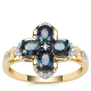 Natural Nigerian Blue Sapphire Ring with White Zircon in 9K Gold 1.58cts