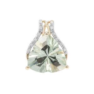 Lehrer Infinity Cut Prasiolite Pendant with White Diamond in 9K Gold 4.98cts