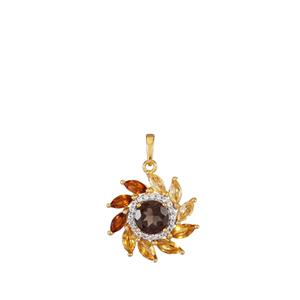 Smokey Quartz Pendant with Citrine in Gold Plated Sterling Silver 3.29cts