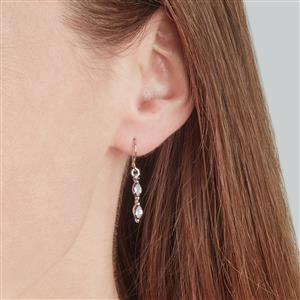 Bekily Color Change Garnet Earrings with Champagne Diamond in 10k White Gold 1cts