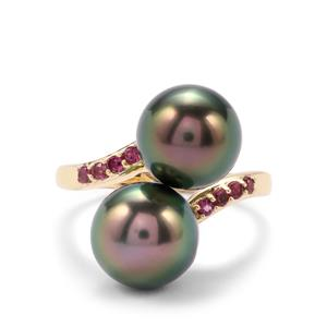 Tahitian Cultured Pearl Ring with Rajasthan Garnet in 9K Gold (10mm x 9mm)