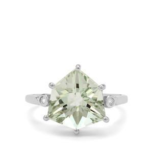 Alpine Cut Prasiolite Ring with Diamond in 9K White Gold 4.40cts