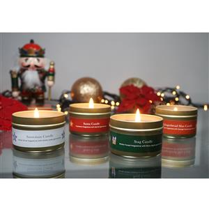 Set of 4 Santa's Friends Tinned Candles