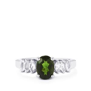 Chrome Diopside Ring with White Topaz in Sterling Silver 1.94cts