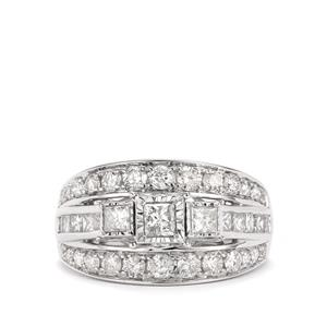 Diamond Ring in 14K White Gold 2cts