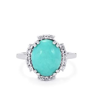 Sleeping Beauty Turquoise Ring with White Topaz in Sterling Silver 4.49cts