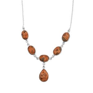 Mexican Jasper Necklace in Sterling Silver 37.88cts
