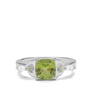 Changbai Peridot & White Zircon Sterling Silver Ring ATGW 1.83cts