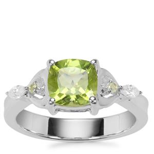Changbai Peridot Ring with White Zircon in Sterling Silver 1.83cts